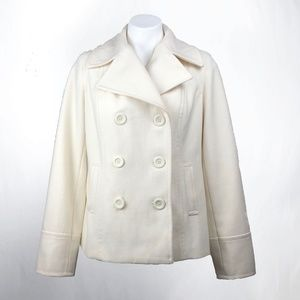 Old Navy White Double Breasted Wool Peacoat Sz M